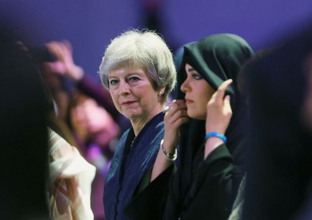 Britain's former Prime Minister Theresa May attends the Global Women's Forum in Dubai, United Arab Emirates, February 16, 2020. REUTERS/Christopher Pike