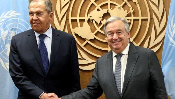 Sergey Lavrov ve BM Genel Sekreteri Guterres - Sputnik Türkiye