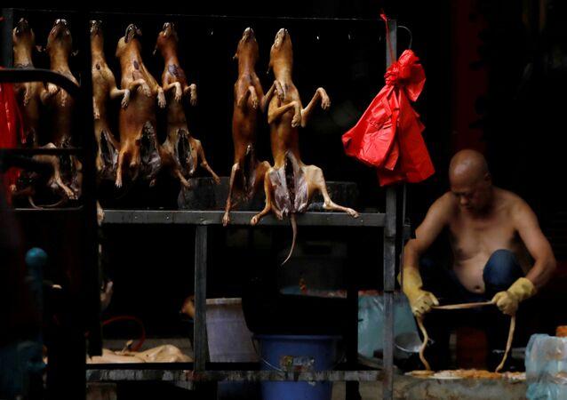 Çin'in Guangksi eyaletinin Yulin şehrindeki bir pazar yerinde kesimi yapılmış köpek eti tezgahı