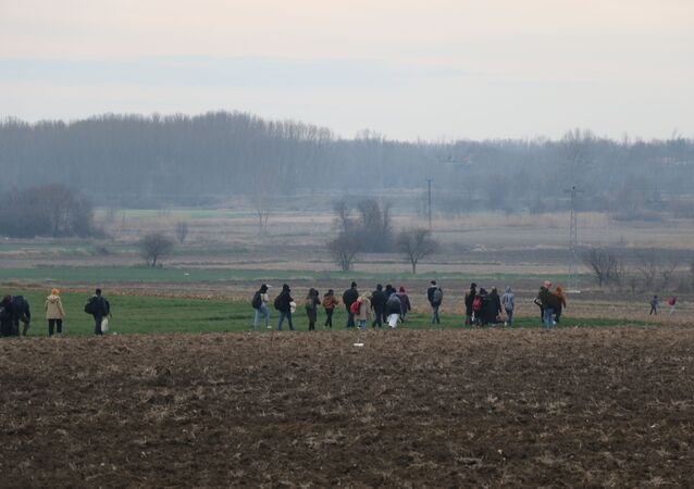 Göçmenler, Pazarkule Sınır Kapısı'na ulaşmak için tarlalardan geçerek, Meriç Nehri'ne ulaşmaya çalışıyorlar