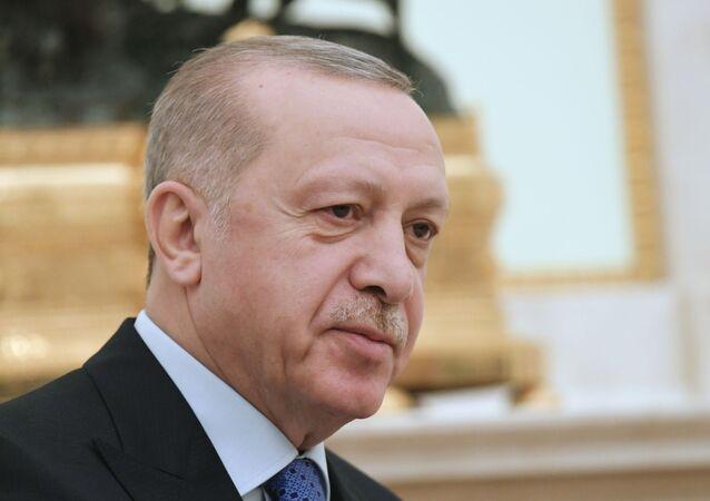 Cumhurbaşkanı Recep Tayyip Erdoğan Rusya Devlet Başkanı Vladimir Putin ile görüşmesi sırasında.