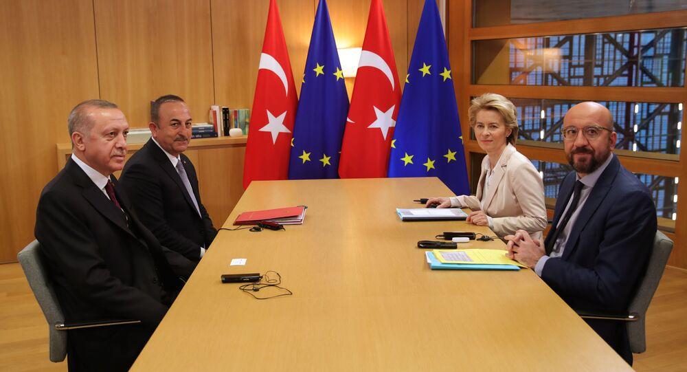 Türkiye Cumhurbaşkanı Recep Tayyip Erdoğan, Avrupa Birliği (AB) Konseyi Başkanı Charles Michel ve AB Komisyonu Başkanı Ursula von der Leyen