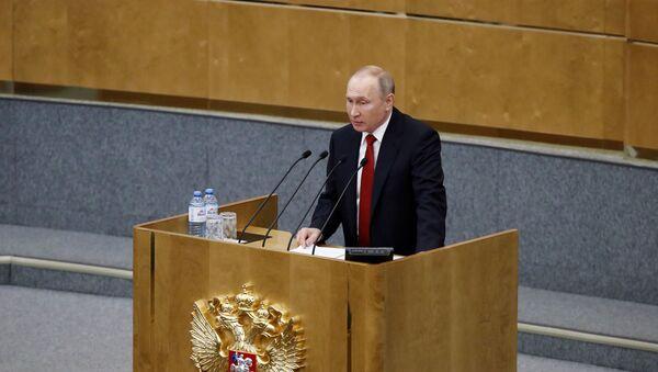 Rusya Devlet Başkanı Vladimir Putin, parlamentonun alt kanadı Duma'da vekillere hitap etti. - Sputnik Türkiye