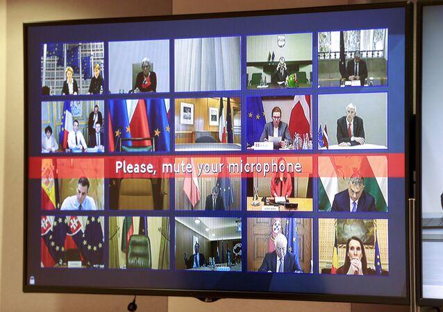 Avrupa Konseyi'nde Avrupa Birliği ülkelerinin liderleriyle yapılan koronavirüs konferansı