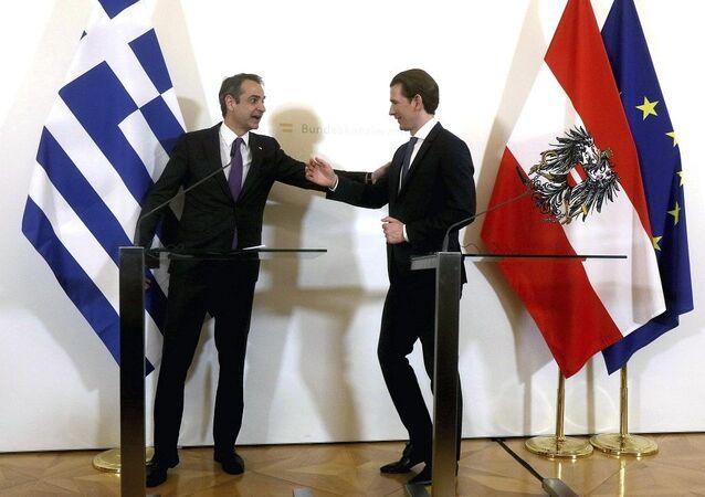 Yunanistan Başbakanı Kiryakos Miçotakis  - Avusturya Başbakanı Sebastian Kurz