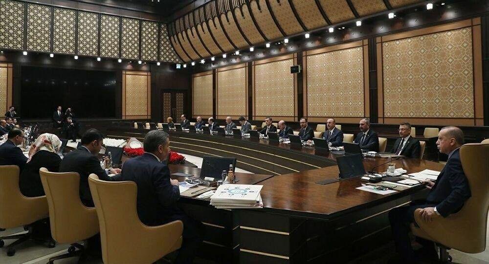 Türkiye Cumhurbaşkanı Recep Tayyip Erdoğan başkanlığında, koronavirüs (Kovid-19) salgınına karşı alınacak tedbirlere ilişkin toplantı