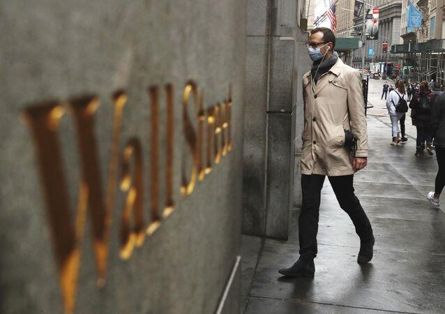 Koronovirüs zamanlarında Wall Street manzarası, New York, ABD