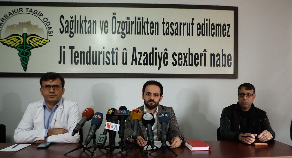 Diyarbakır Sağlık Platformu'nun koronavirüs salgını ile ilgili düzenlediği basın toplantısı