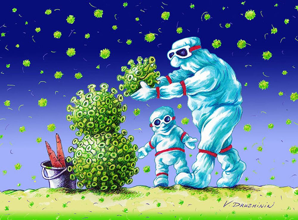Valentin Drujinin'in karikatürü.