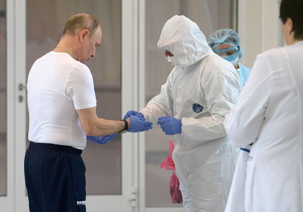 Putin'in ziyaret ettiği Moskova bölgesindeki Kommunarka kentinde bulunan 'koronavirüs hastanesi'nden bir kare