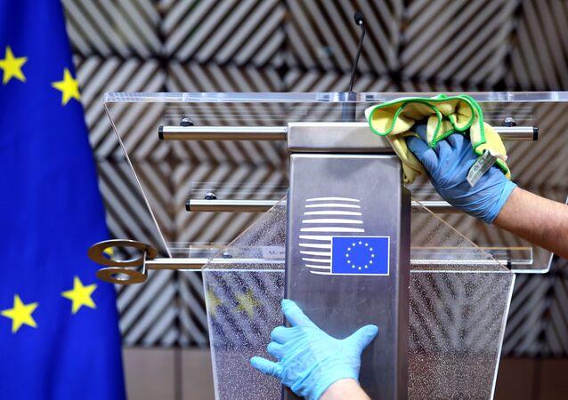 AB üyesi ülke liderlerinin yeni tip koronavirüs nedeniyle telekonferans aracılığıyla gerçekleştirdiği toplantı sonrası açıklama
