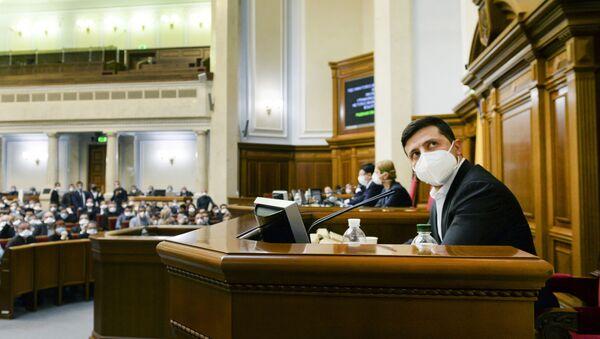 Ukrayna Devlet Başkanı Vladimir Zelenskiy-Meclis-Kkoronavirüs - Sputnik Türkiye