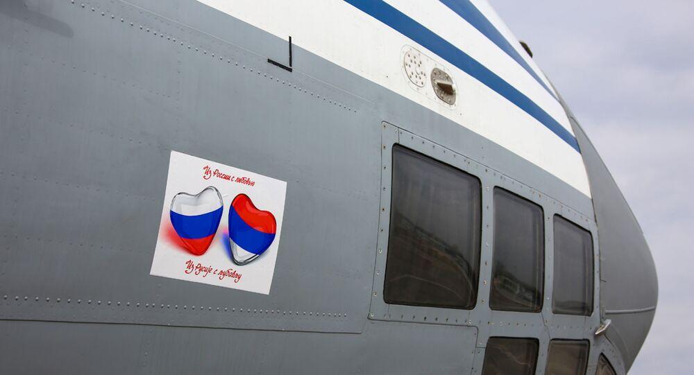 Rusya'nın Sırbistan'a gönderdiği yardım uçağı