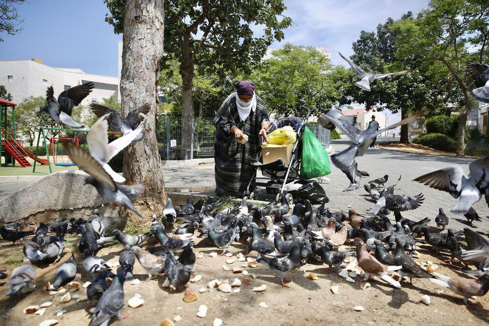 İsrail'in başkenti Tel Aviv'de yaşlı bir kadın güvercinlere yem verirken