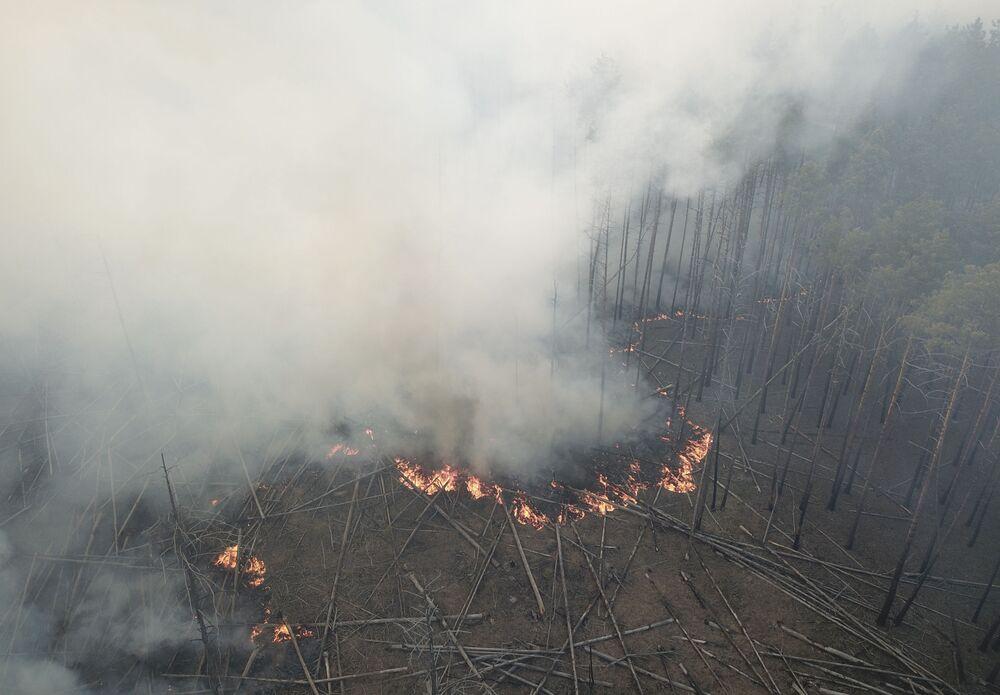 Orman yangının birkaç gündür devam ettiği Çernobil bölgesinden bir kare.