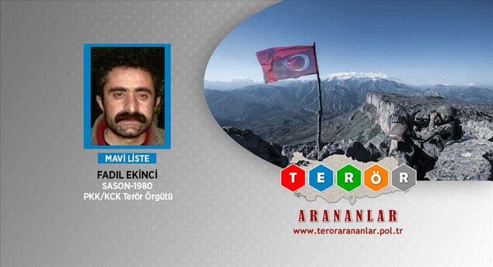 Anadolu Ajansı, MİT'in nokta operasyonuyla, PKK'nın 'Irak/Zap alanı sorumlusu, mavi kategoride aranan Fadıl Ekinci'nin Zap'ta etkisiz hale getirildiğini duyurdu.