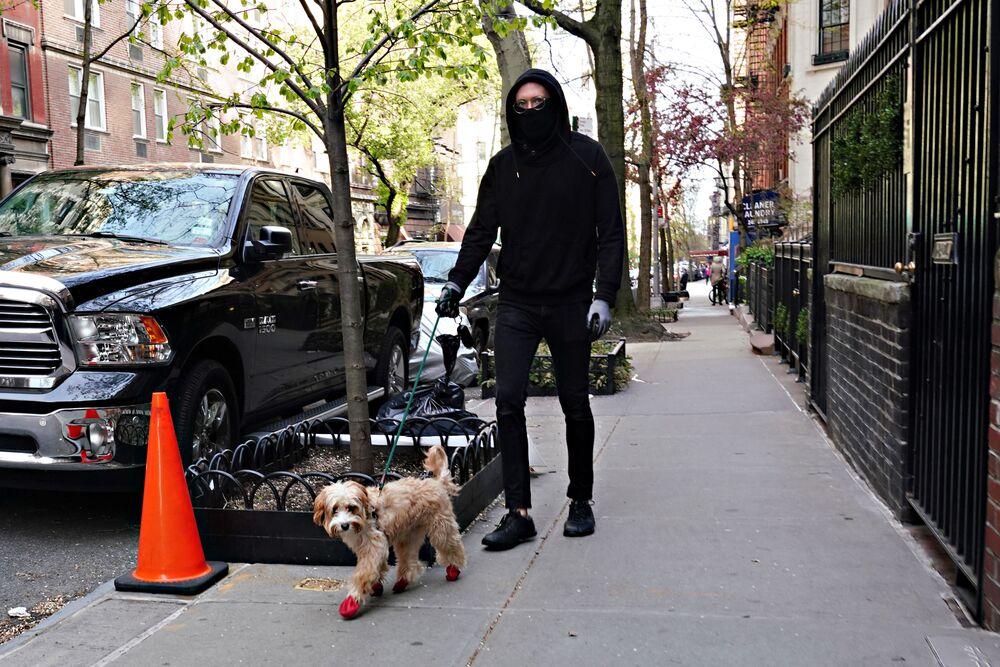 New York'ta ayakkabı giyen  köpeğini gezdiren bir adam.