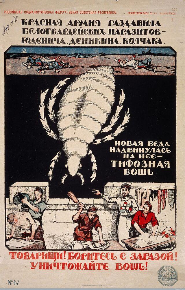 Sovyet dönemine ait 'Yoldaşlar! Salgınla mücadele edin! Tifo bitlerini yok edin!' yazılı pankart.