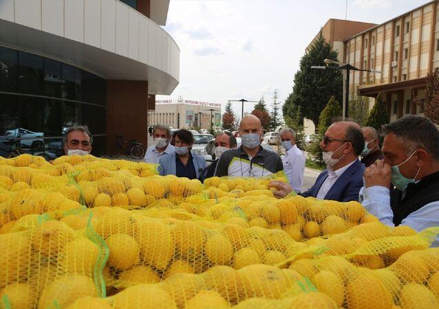 Nevşehir'de sağlık çalışanlarına limon dağıtıldı