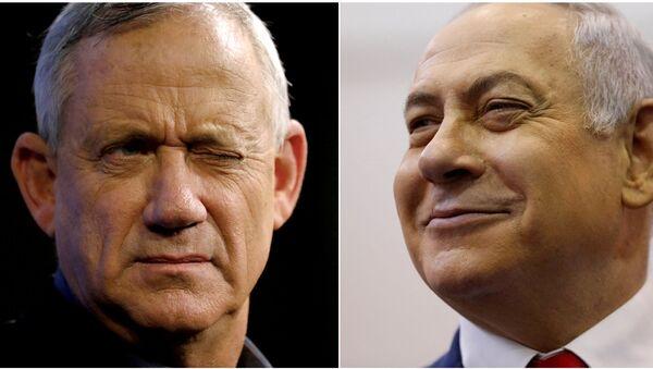 Benyamin Netanyahu ile Mavi-Beyaz İttifakı lideri Benny Gantz - Sputnik Türkiye