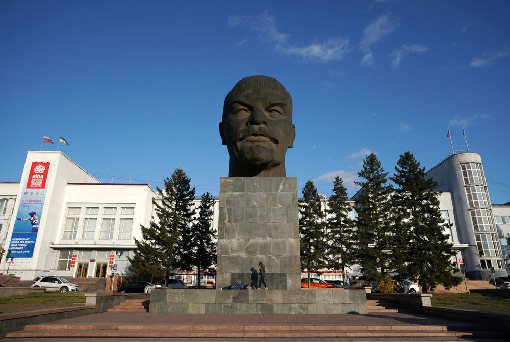 Rusya'ya bağlı Buryatya Cumhuriyeti'nin başkenti Ulan Ude'nin merkezindeki Lenin büstü