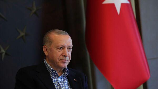 Türkiye Cumhurbaşkanı Recep Tayyip Erdoğan, A Milli Futbol Takımı oyuncularıyla video konferans yöntemiyle görüşme gerçekleştirdi. - Sputnik Türkiye