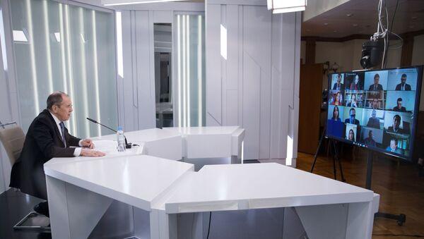Sergey Lavrov - video konferans - Sputnik Türkiye