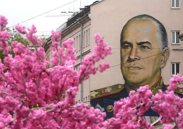 Başkent Moskova'nın merkezi caddesinde bulunan Büyük Anavatan Savaşı'nın kahramanlarından Mareşal Jukov'un duvar resmi