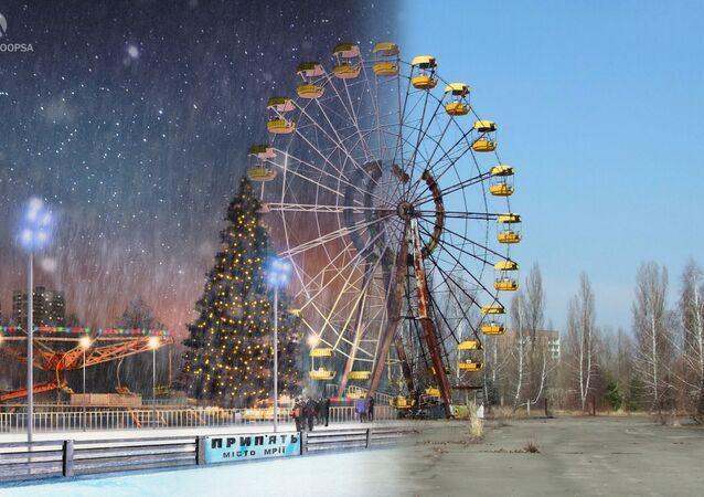 Pripyat kentindeki lunaparkın Çernobil  nükleer faciası sonrası görünümü (sağda) ve Rus sanatçılar Dmitriy Didenko ile Andrey Gupsa'nın imza attiği 'Çernobil felaketi yaşanmasaydı Pripyat bugün nasıl görünürdü' projesinden  bir kare (solda)