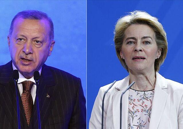 Cumhurbaşkanı Recep Tayyip Erdoğan-Avrupa Birliği (AB) Komisyonu Başkanı Ursula von der Leyen