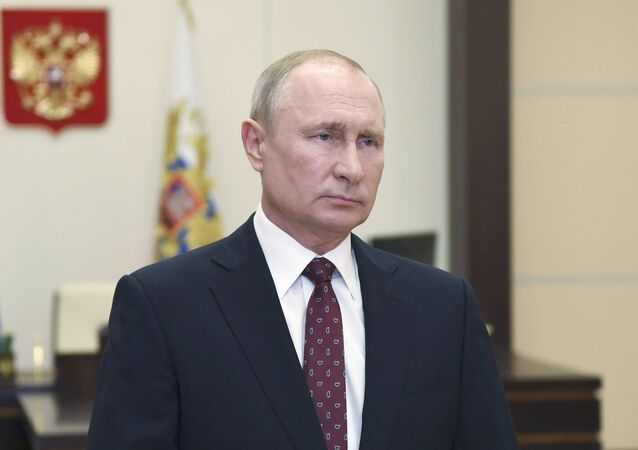 Russian President Vladimir Putin Russian congratulates graduates of Russian military academies and universities on the 75th anniversary of the victory over Nazi Germany in World War Two, at Novo-Ogaryovo state residence, outside Moscow, Russia.