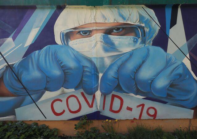 Koronavirüs graffiti - Moskova - Rusya
