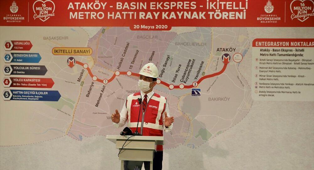 İstanbul Büyükşehir Belediyesi (İBB) tarafından yapımına 2016'da başlanan İkitelli-Ataköy Metro Hattı'nda rayların döşenmesine başlandı. Programda İBB Başkanı Ekrem İmamoğlu konuşma yaptı.
