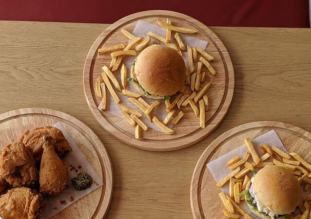 fast food-hamburger-patates kızartması-çıtır tavuk