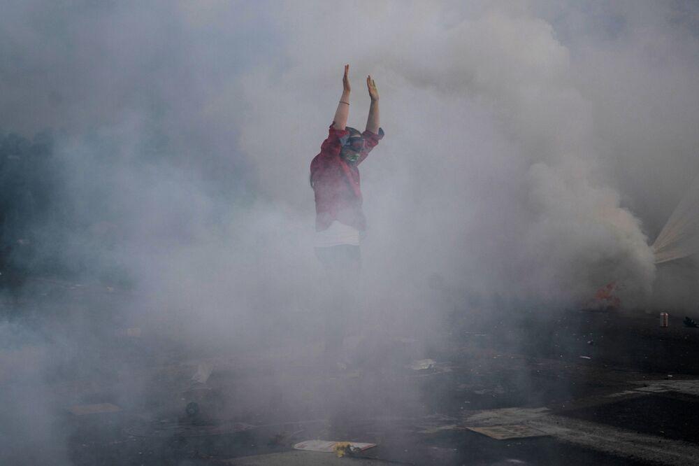 Minneapolis'te yaşanan protesto gösterilerinden bir kare