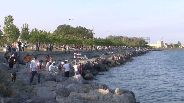 Yoğun olarak Zeytinburnu ve Yenikapı Sahili'ne giden vatandaşlardan kimisi mangal yaparken kimileri ise denize girdi. - Sputnik Türkiye