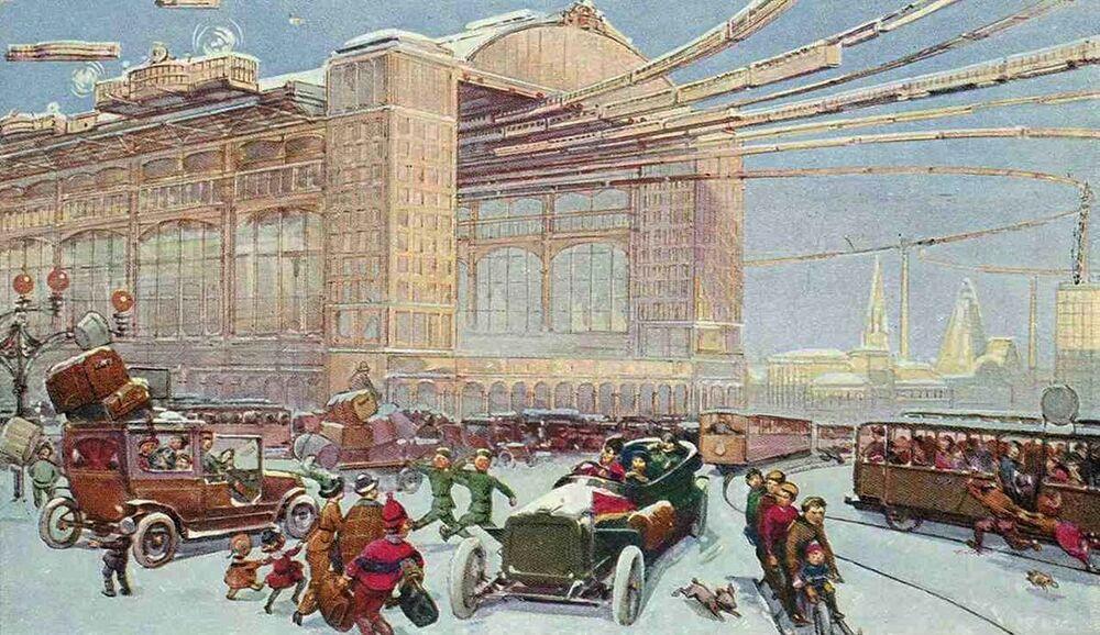 Bu kartpostalda demiryolu ile havayollarını birleştiren Merkezi Havalimanı ve Gar resmedildi. Ressam, 23. yüzyılda  insanların uzaklara yolculuklarının sadece  birkaç dakika süreceğini düşünüyordu.