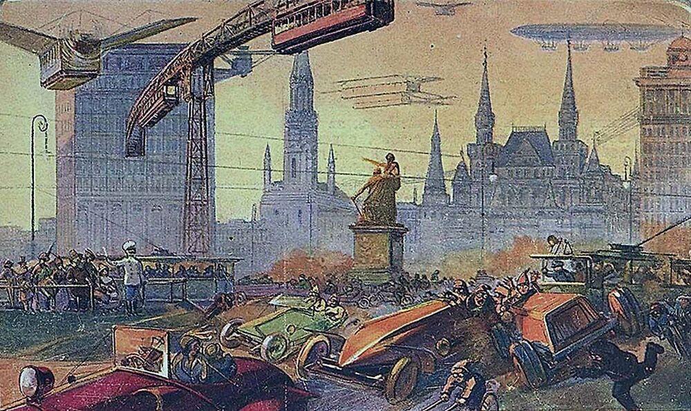 1914 yılında başkent Moskova'da bulunan ünlü Krasnıy Oktyabr (Kızıl Ekim) çikolata  fabrikasının isteği üzerine ismi bilinmeyen ressam tarafından yapılan ve Moskova'nın 22. ve 23. yüzyılda olası görünümünün resmedildiği 8 kartpostaldan biri. Ressama göre,  2114 yılında Moskova'daki Kızıl Meydan'ın görünümü böyle olabilirdi.