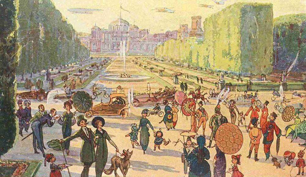 Petrovskiy Parkı'nın resmedildiği bir kartpostal, 1914