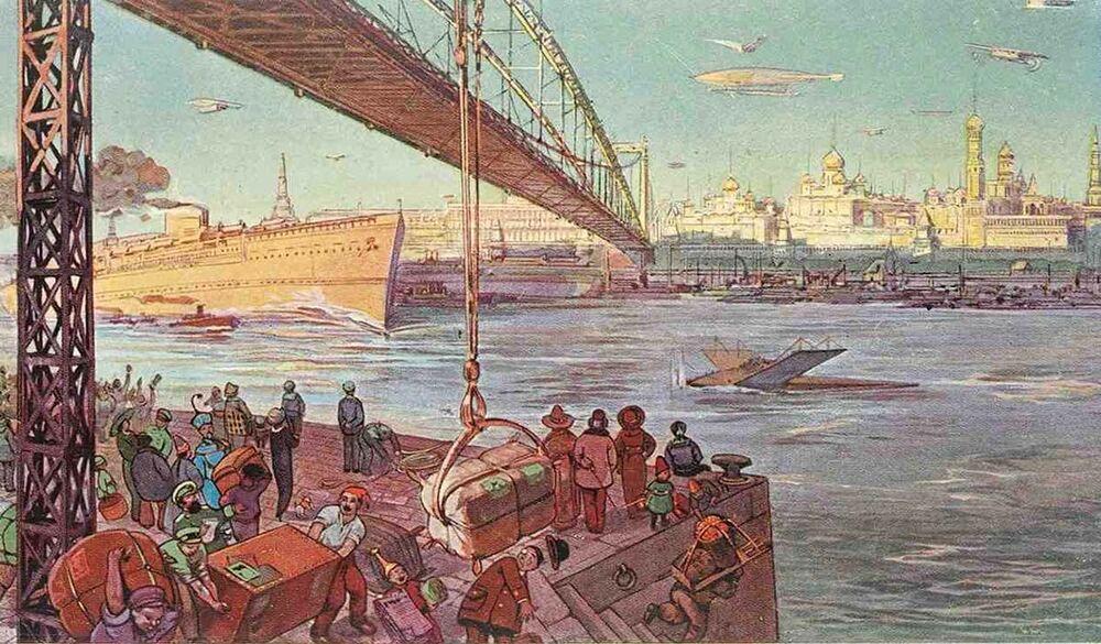 Bu kartpostalda büyük uluslararası ticari limana dönüşmüş Moskva Nehri'nin resmi yer aldı, 1914