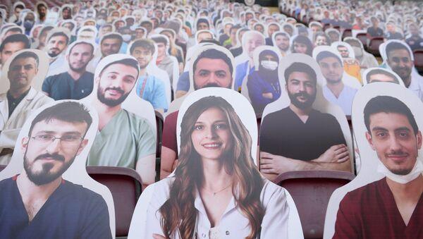 Sağlık çalışanları Galatasaray tribünlerinde - Sputnik Türkiye
