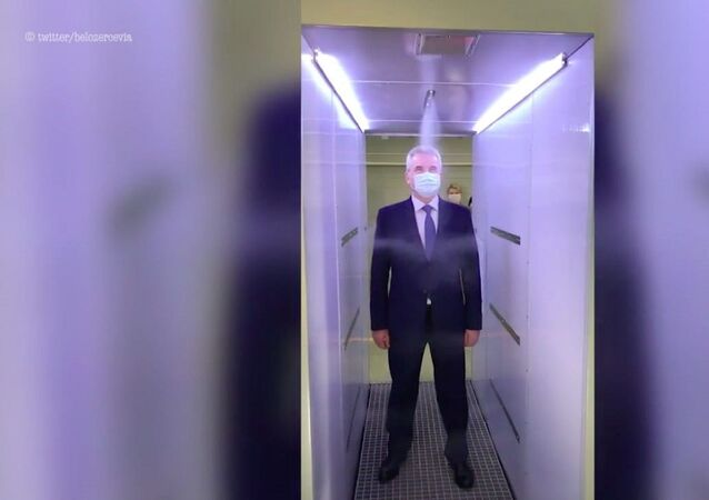 Putin'in kullandığı Moskova'daki Novo-Ogarevo Başkanlık Rezidansı'nda Kovid-19 salgınından korunmak için özel bir dezenfeksiyon tüneli