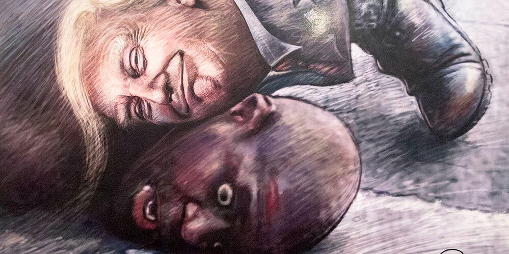 Tahran'daki karikatür sergisinde yer alan resimlerden birinin fragmanı