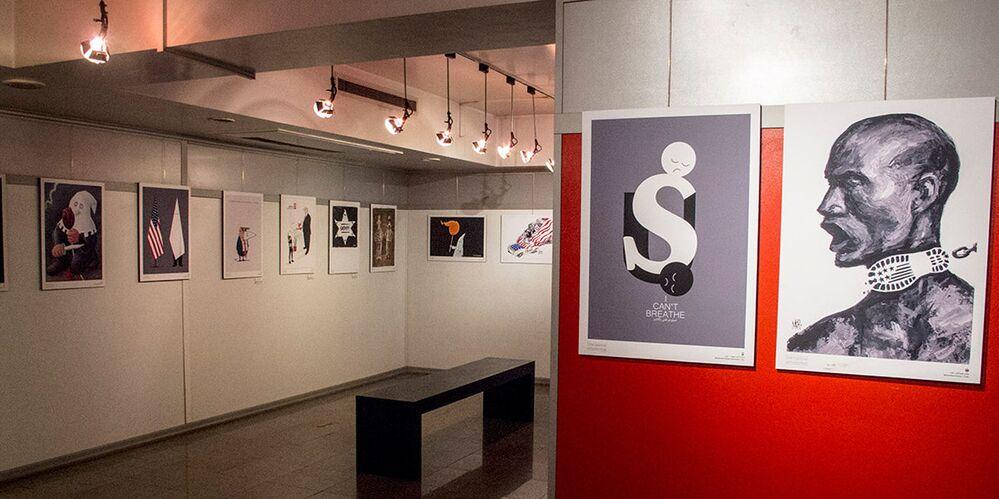 Tahran'da açılan 'I can't breathe' (Nefes Alamıyorum) sergisinde İranlı ve yabancı karikatüristlerin onlarca eseri sergileniyor