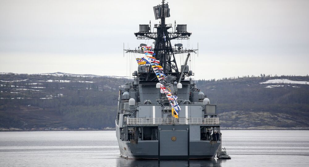 The Russia's Vice-Admiral Kulakov anti-submarine destroyer is pictured in Kola Bay during Northern Fleet Day celebrations, in Severomorsk, Russia.