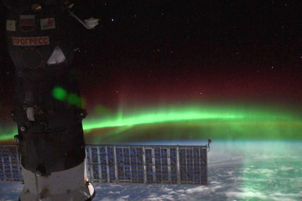 Uluslararası Uzay İstasyonu'ndan çekilen Kutup Işıkları görüntüsü