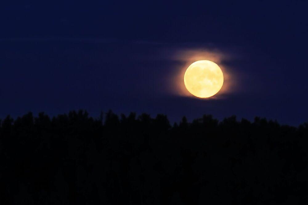 Rusya'nın Tver bölgesinde çekilen parçalı Ay tutulması görüntüsü.  Parçalı Ay tutulması, Ay diskinin bir kısmının Yer'e ait kısmi gölge konisinin içerisine girmesiyle oluşur.