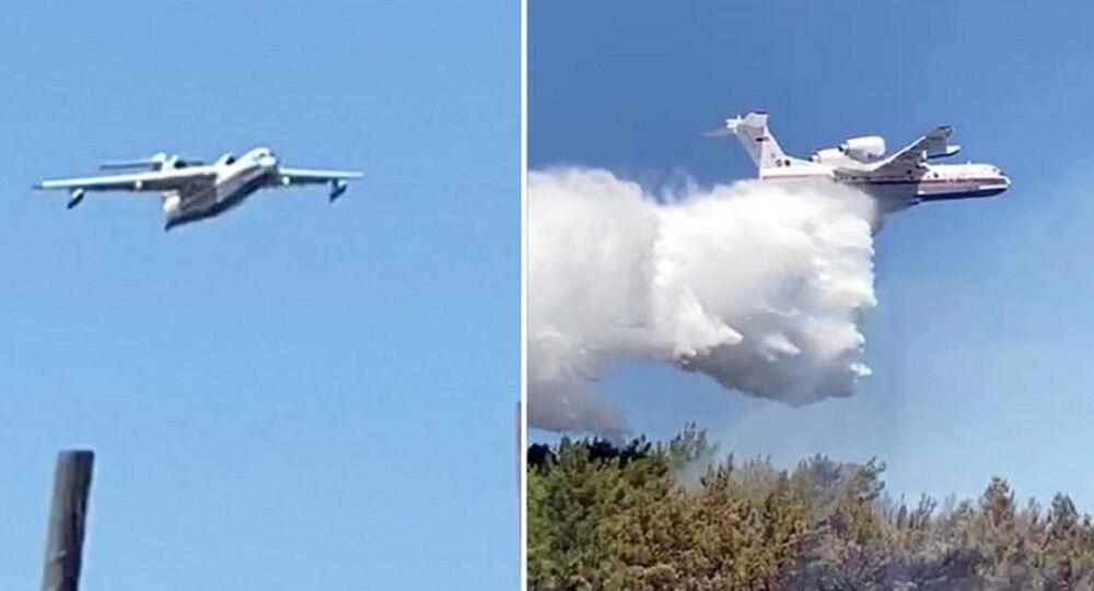 Amfibi tipi 'BE 200 ES' Rus yangın söndürme uçağı 1 saatte 7 sorti yaptı, 60 ton su boşalttı