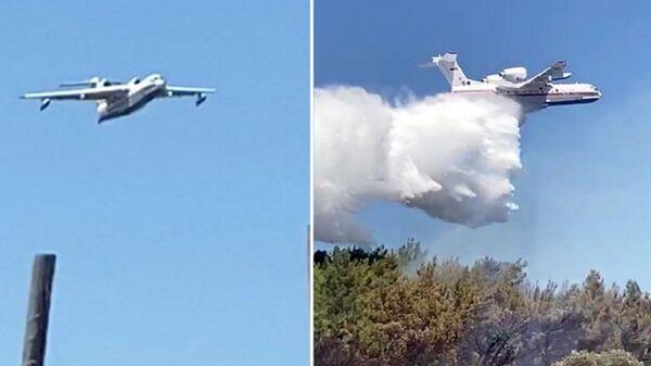 Amfibi tipi 'BE 200 ES' Rus yangın söndürme uçağı 1 saatte 7 sorti yaptı, 60 ton su boşalttı - Sputnik Türkiye