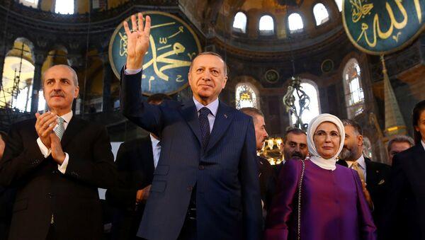 Ayasofya-Numan Kurtulmuş, Recep Tayyip Erdoğan, Emine Erdoğan - Sputnik Türkiye
